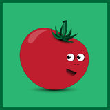 Tomato on the green background. Illustration of funny tomato on the green background Royalty Free Stock Image