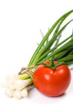 Tomato with green onion Stock Photo