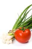 Tomato with green onion Stock Photo