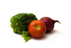 Tomato, green pepper, red onion and lettuce Royalty Free Stock Photos