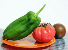 Tomato and Green Pepper Stock Photography