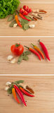 Tomato, green salad, garlic and paprika Royalty Free Stock Image