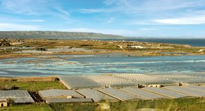 Tomato Greenhouses and Salines - Pachino Italy. Greenhouses for the cultivation of tomato and saline ponds in the countryside of Pachino Syracuse Siracusa Stock Photography