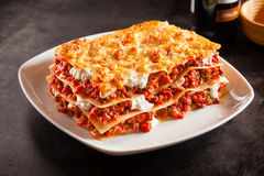 Tomato and ground beef lasagne with cheese Stock Images