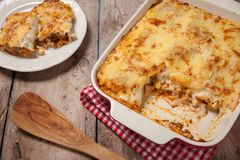 Tomato and ground beef lasagne rolls. With cheese layered between sheets of traditional Italian pasta royalty free stock photos