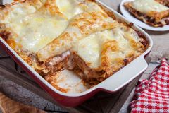 Tomato and ground beef lasagne rolls. With cheese layered between sheets of traditional Italian pasta royalty free stock image