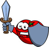 Tomato guard with shield and sword Stock Photography