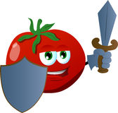 Tomato guard with shield and sword Royalty Free Stock Photography