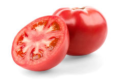 Tomato and half. Isolated on white background stock photos