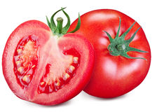 Tomato and a half isolated on a white background. Royalty Free Stock Images