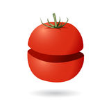 Tomato half top and bottom. Isolated tomato divided in the middle Stock Photos