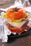 Tomato hamburger Stock Photos