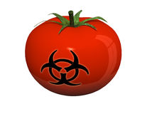 Tomato with harard symbol on the peel. Tomato with hazard symbol on the peel, 3d illustration Royalty Free Stock Photos