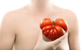 Tomato with heart shape royalty free stock images