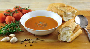 Tomato and herb soup Stock Photography