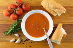 Tomato and herb soup Royalty Free Stock Photo