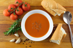 Tomato and herb soup Royalty Free Stock Image
