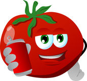 Tomato holding beer or soda can Royalty Free Stock Photos