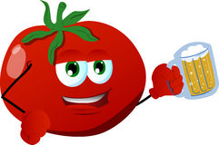 Tomato holding beer Royalty Free Stock Image