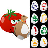 Tomato holding a big sack with variable signs Royalty Free Stock Photography