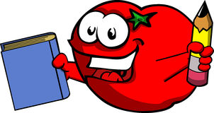Tomato holding a book and a pencil Stock Photo
