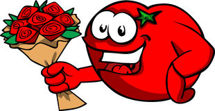 Tomato holding a bunch of flowers Stock Image