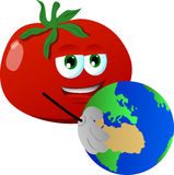 Tomato holding Earth Royalty Free Stock Image