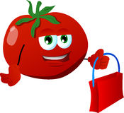 Tomato holding an empty bag Stock Images