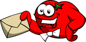 Tomato holding an envelope Stock Image