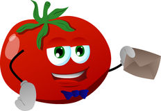 Tomato holding an envelope Royalty Free Stock Image