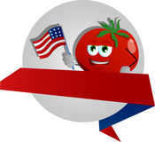 Tomato holding the flag of the USA label with blank ribbon Royalty Free Stock Image