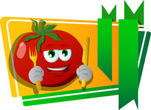 Tomato holding fork and knife label with blank ribbon Stock Photo