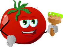 Tomato holding a paint brush Stock Images
