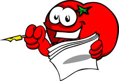 Tomato holding pen and papers Royalty Free Stock Images
