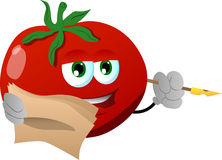 Tomato holding pen and papers Stock Photos