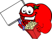 Tomato holding popcorn and blank board Stock Photography