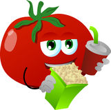 Tomato holding popcorn and soft drink Royalty Free Stock Images