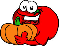 Tomato holding pumpkin Stock Images