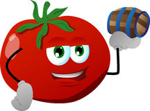 Tomato holding a small barrel Stock Images