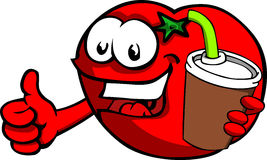 Tomato holding soda and showing thumb up sign Stock Images