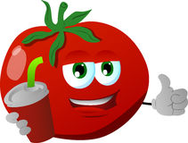 Tomato holding soda and showing thumb up sign Royalty Free Stock Images
