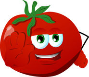 Tomato holding a stop sign Royalty Free Stock Photo