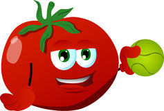Tomato holding a tennis ball Royalty Free Stock Photography