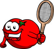 Tomato holding a tennis rocket Royalty Free Stock Photos