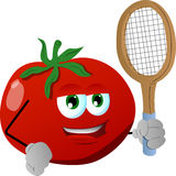 Tomato holding a tennis rocket Royalty Free Stock Images
