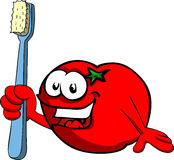 Tomato holding tooth brush Stock Images