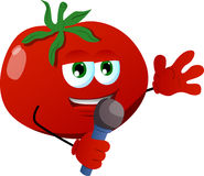 Tomato hosting a show and talking into a microphone Royalty Free Stock Photography