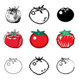 Tomato icons set. Red tomato icons vector set royalty free illustration