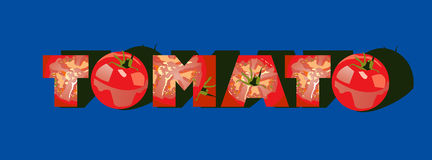 """Tomato. Illustration of """"tomato """" inscription made of tomatoes. Simple gradients only - no gradient mesh Royalty Free Stock Images"""