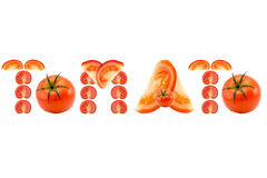 Tomato inscription word of the pieces of chopped tomatoes on white background Royalty Free Stock Image